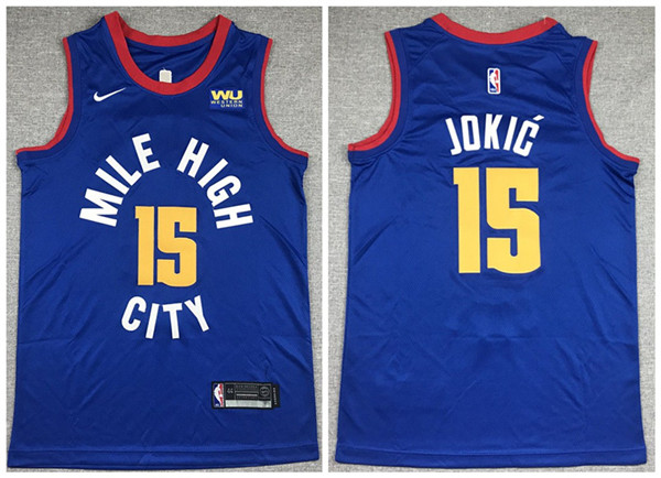 Men's Denver Nuggets #15 Nikola Jokic Blue Stitched NBA Jersey