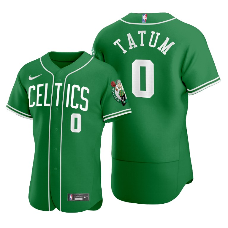 Men's Boston Celtics ##0 Jayson Tatum Green 2020 NBA X MLB Crossover Edition Jersey