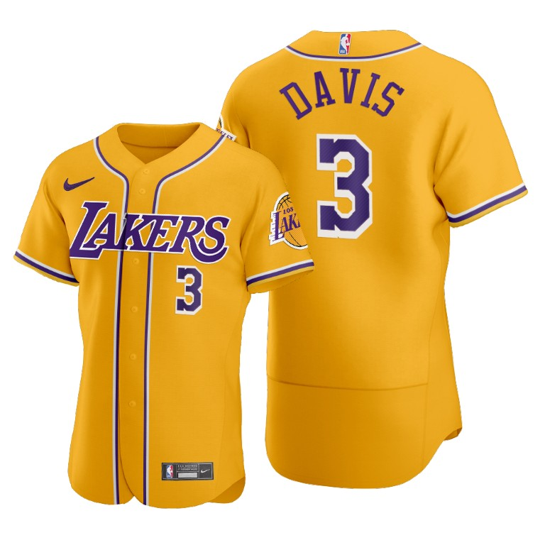 Men's Los Angeles Lakers #3 Anthony Davis Gold 2020 NBA X MLB Crossover Edition Stitched Jersey