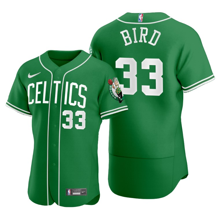 Men's Boston Celtics #33 Larry Bird Green 2020 NBA X MLB Crossover Edition Jersey