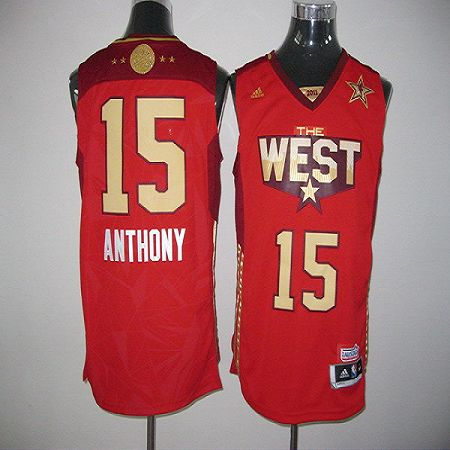 2011 All Star Nuggets #15 Carmelo Anthony Red Stitched NBA Jersey