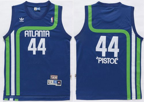 "Hawks #44 Pete Maravich Light Blue ""Pistol"" Soul Swingman Stitched NBA Jersey"