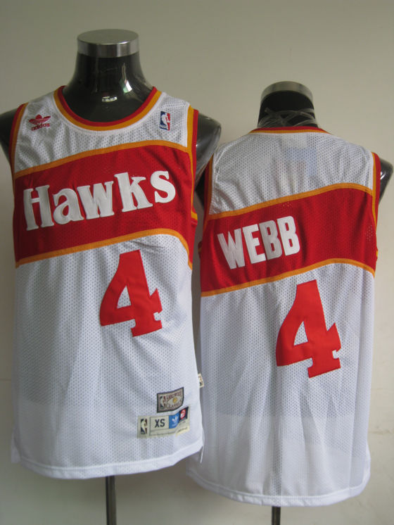 Hawks #4 Spud Webb White Stitched Throwback NBA Jersey