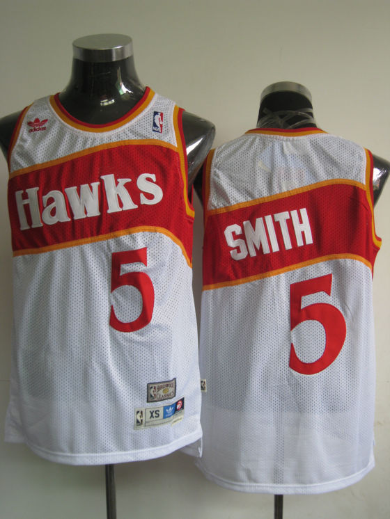 Hawks #5 Josh Smith White Stitched Throwback NBA Jersey