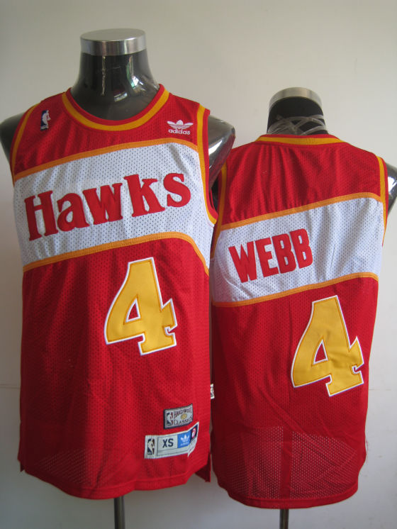Hawks #4 Spud Webb Red Stitched Throwback NBA Jersey