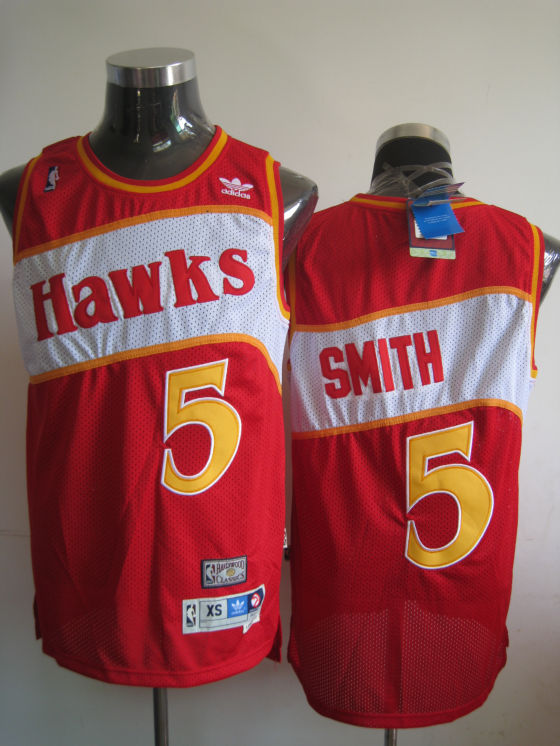 Hawks #5 Josh Smith Red Stitched Throwback NBA Jersey