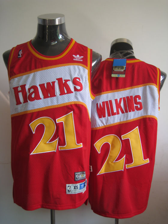 Hawks #21 Dominique Wilkins Red Stitched Throwback NBA Jersey