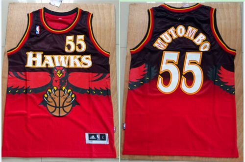 Hawks #55 Dikembe Mutombo Red Throwback Stitched NBA Jersey