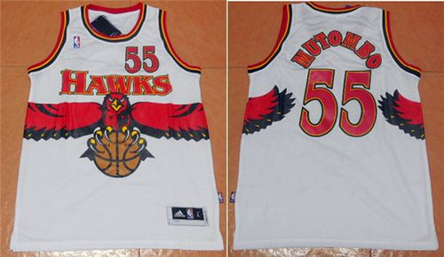 Hawks #55 Dikembe Mutombo White Throwback Stitched NBA Jersey