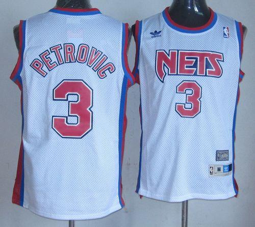 Nets #3 Drazen Petrovic White Throwback Stitched NBA Jersey