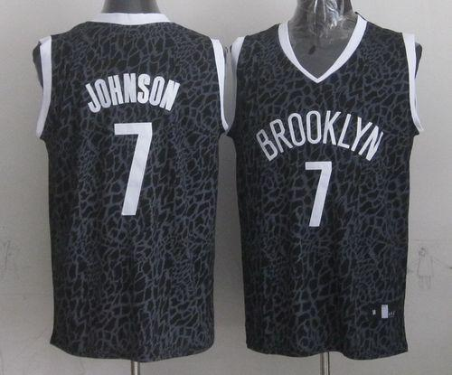 Nets #7 Joe Johnson Black Crazy Light Stitched NBA Jersey