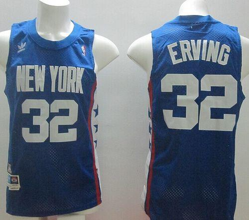 Nets #32 Julius Erving Blue ABA Retro Swingman Throwback Stitched NBA Jersey