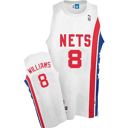 Nets #8 Deron Williams White ABA Hardwood Classic Stitched NBA Jersey
