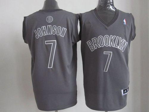 Nets #7 Joe Johnson Grey Big Color Fashion Stitched NBA Jersey