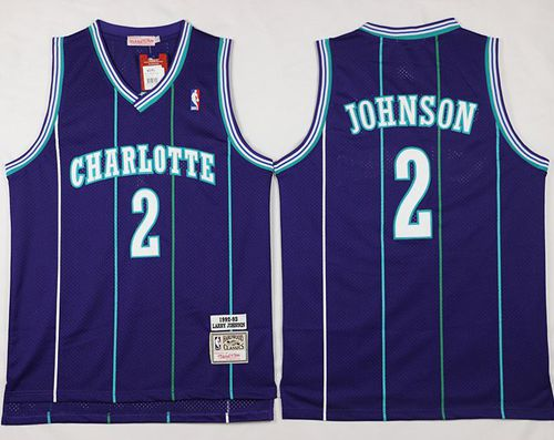 Mitchell And Ness Hornets #2 Larry Johnson Purple Throwback Stitched NBA Jersey