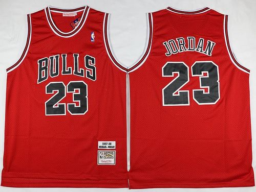 Mitchell and Ness Bulls #23 Michael Jordan Stitched Red Throwback NBA Jersey