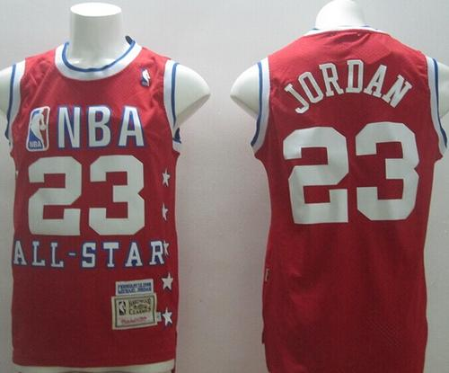 1992 All Star Mitchell And Ness Bulls #23 Michael Jordan Red Stitched NBA Jersey