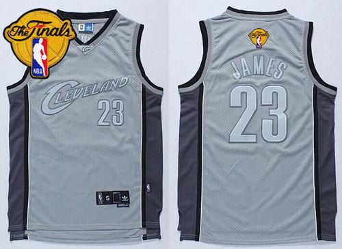 Cavaliers #23 LeBron James Grey Anniversary Style The Finals Patch Stitched NBA Jersey