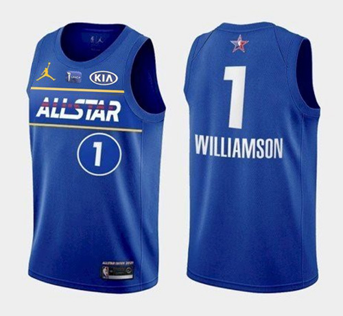 Men's 2021 All-Star #1 Zion Williamson Blue Eastern Conference Stitched NBA Jersey