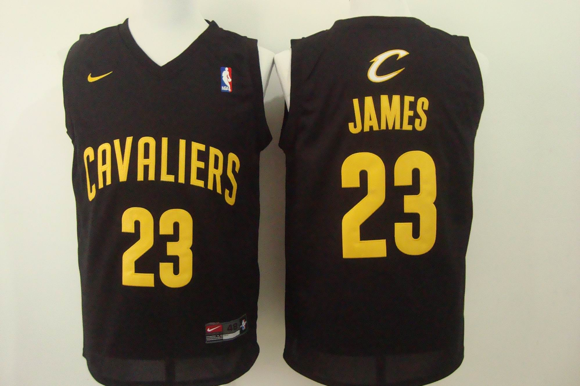 Men's Nike Cleveland Cavaliers #23 LeBron James Black with Gold Stitched NBA Jersey