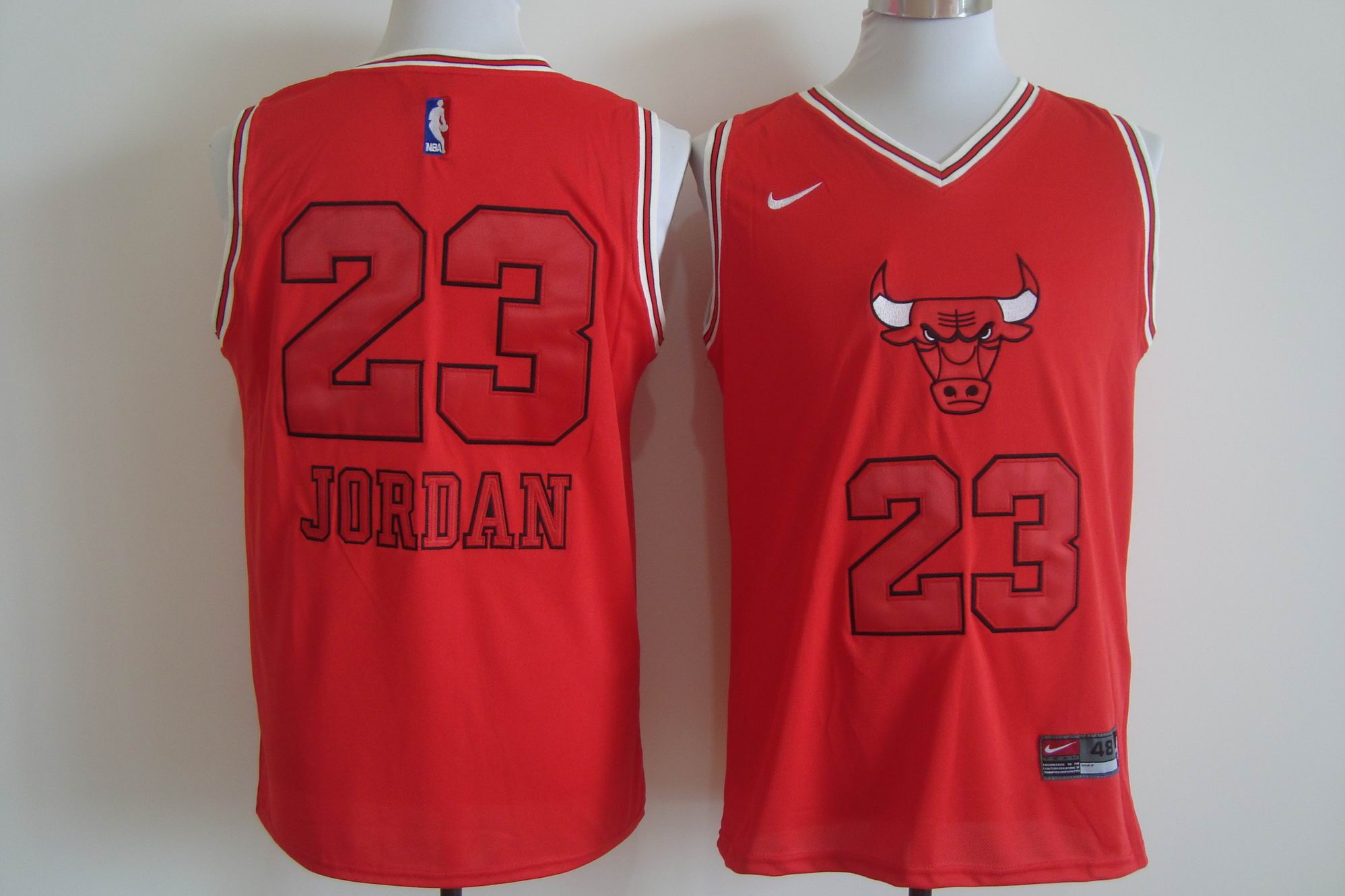 Men's Nike Chicago Bulls #23 Michael Jordan Red Bull Head Fashion Stitched NBA Jersey
