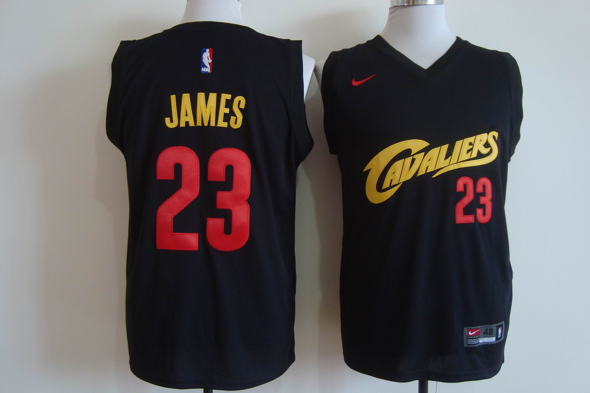 Men's Nike Cleveland Cavaliers #23 LeBron James Black and Red Stitched NBA Jersey