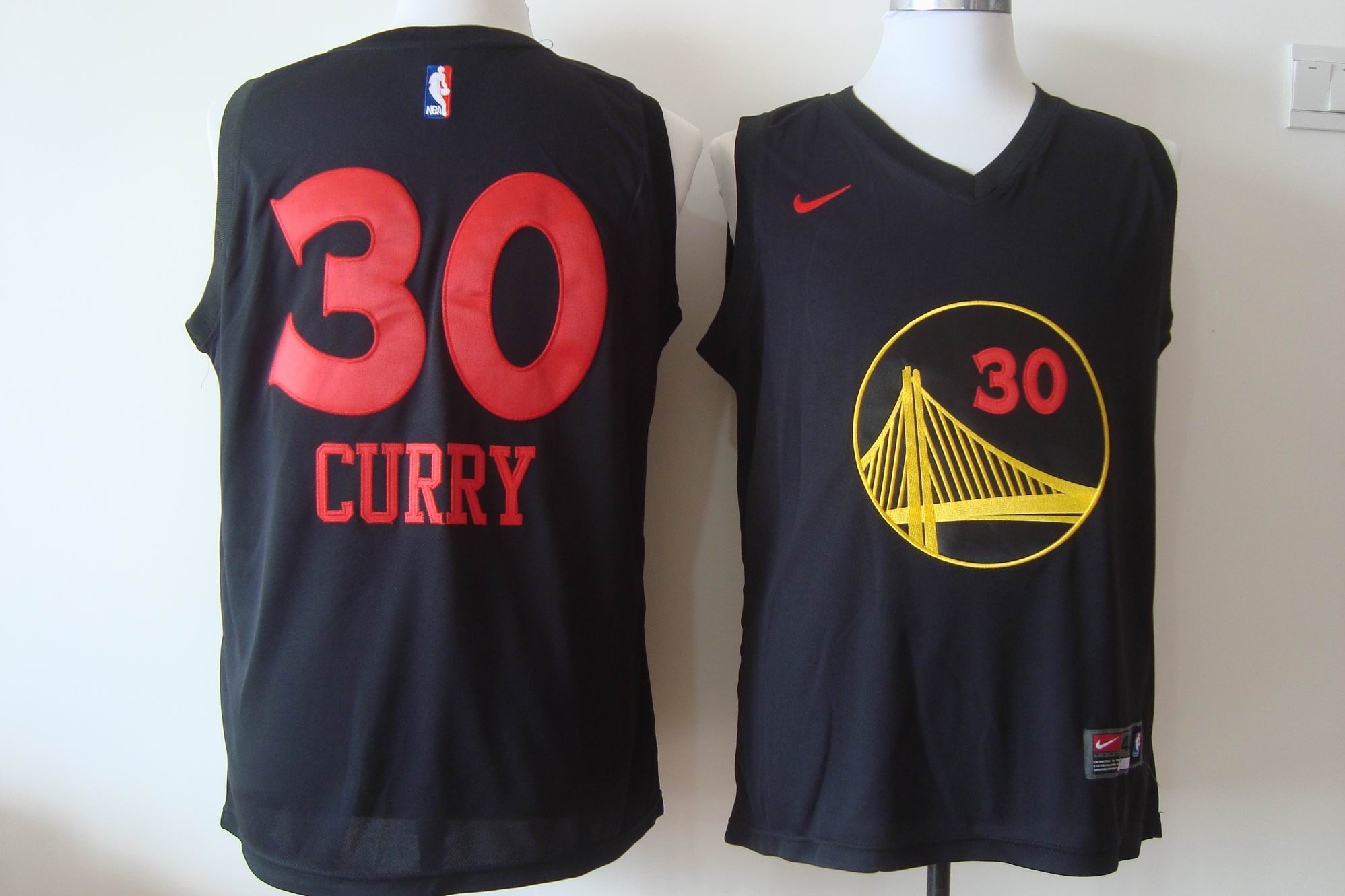 Men's Nike Golden State Warriors #30 Stephen Curry Black With Red Fashion Stitched NBA Jersey