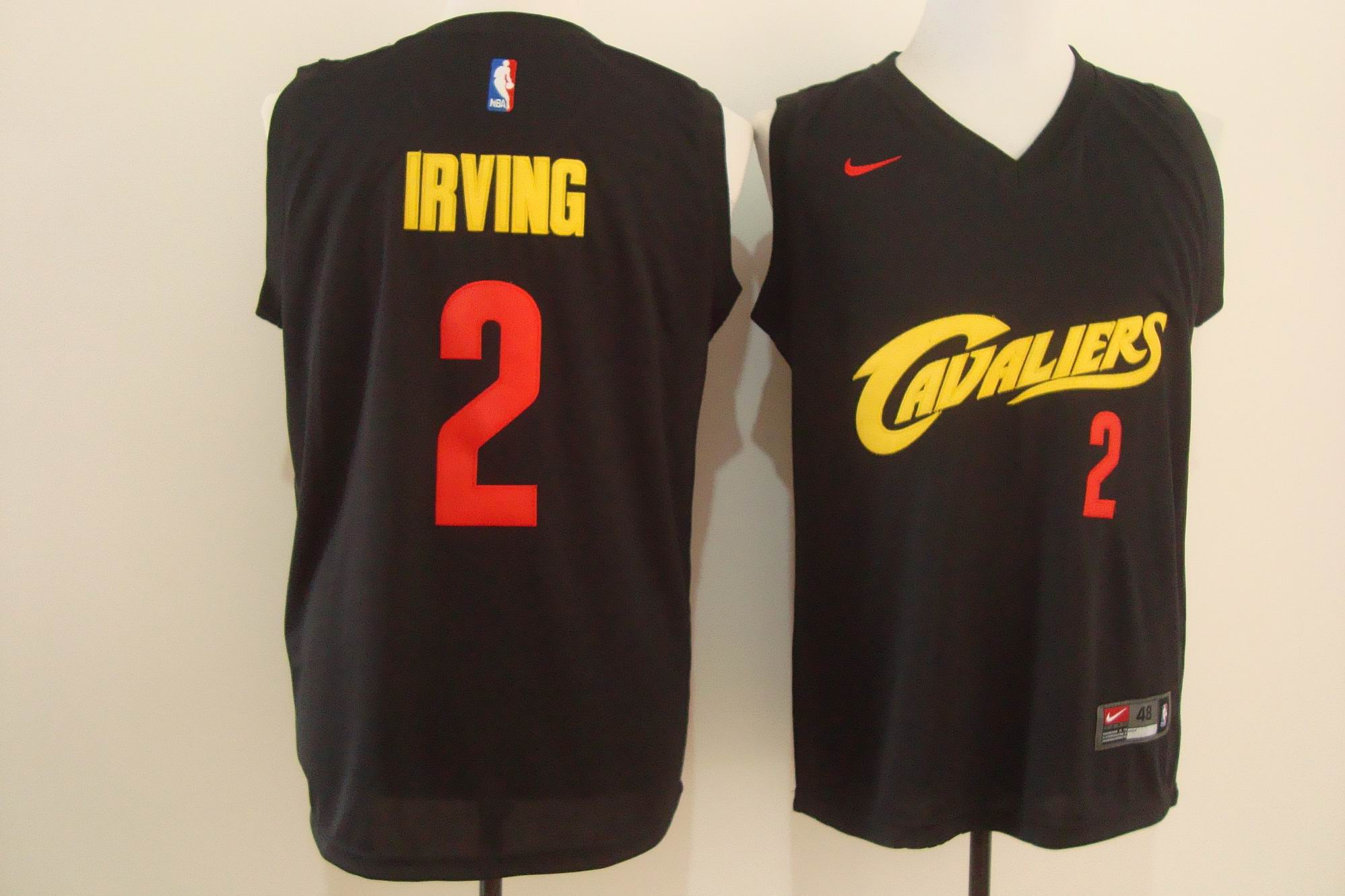 Men's Nike Cleveland Cavaliers #2 Kyrie Irving Black and Red Stitched NBA Jersey