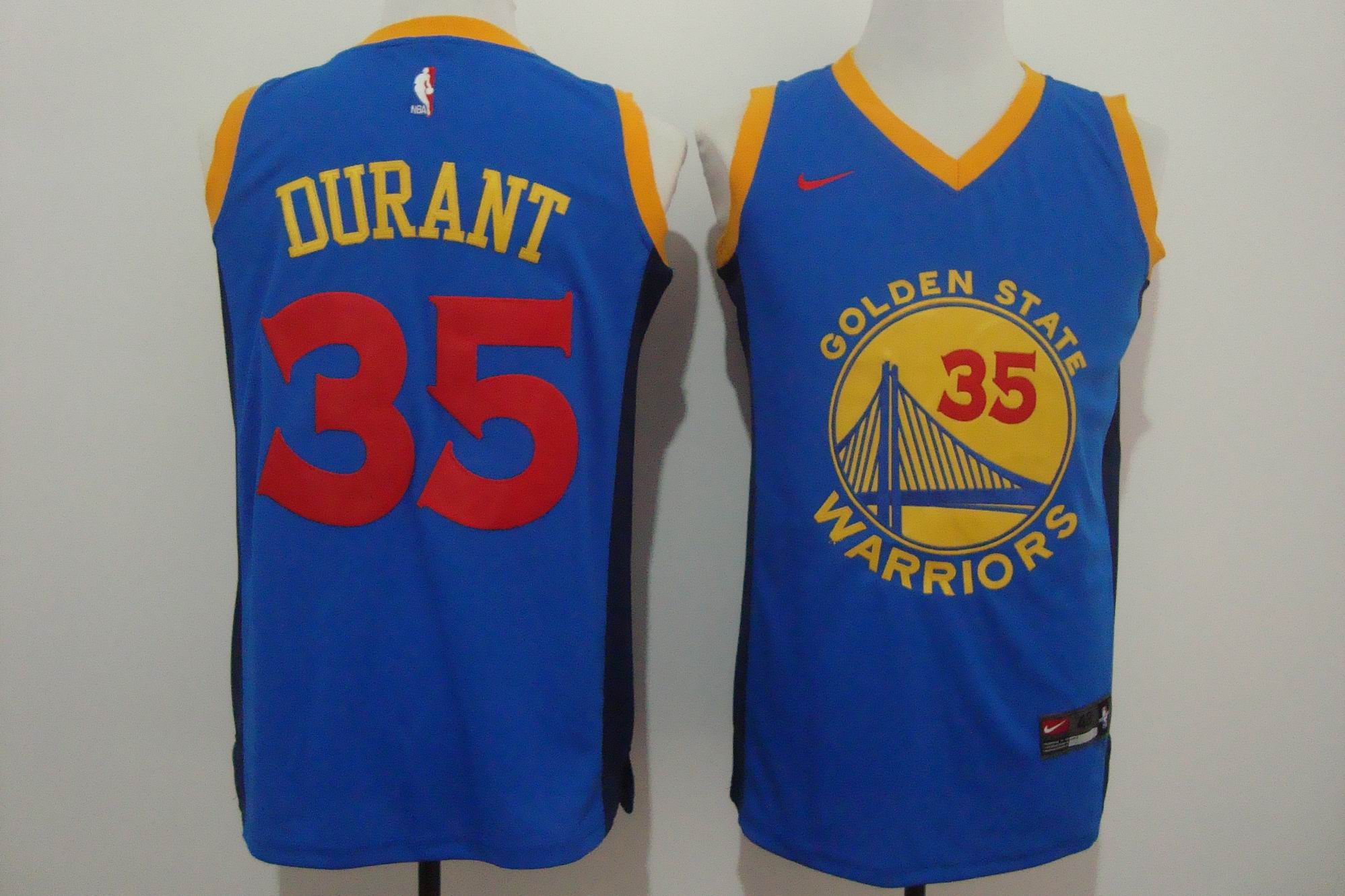 Men's Nike Golden State Warriors #35 Kevin Durant Blue New Fashion Stitched NBA Jersey