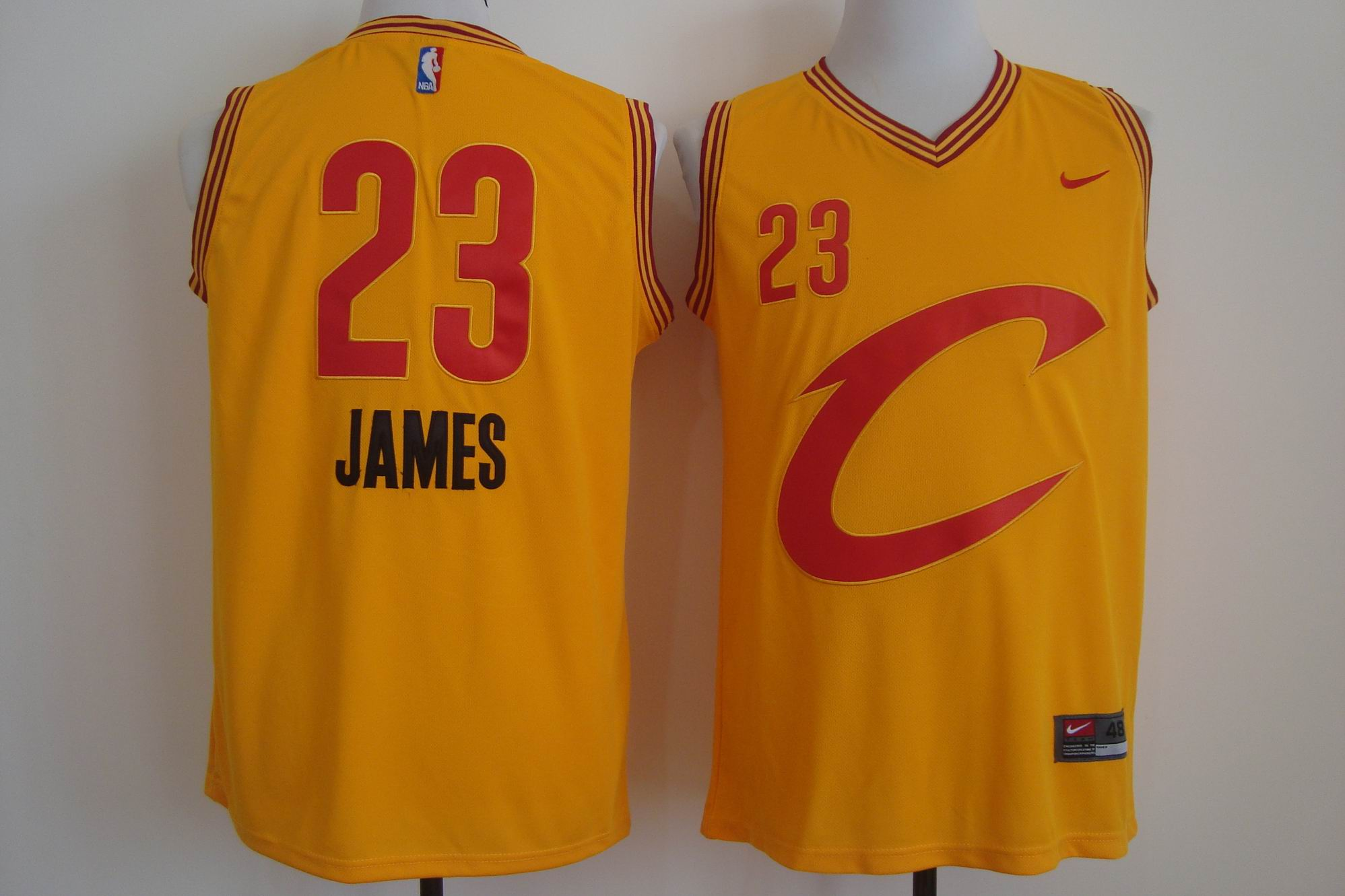 Men's Nike Cleveland Cavaliers #23 LeBron James Yellow Stitched NBA C Jersey