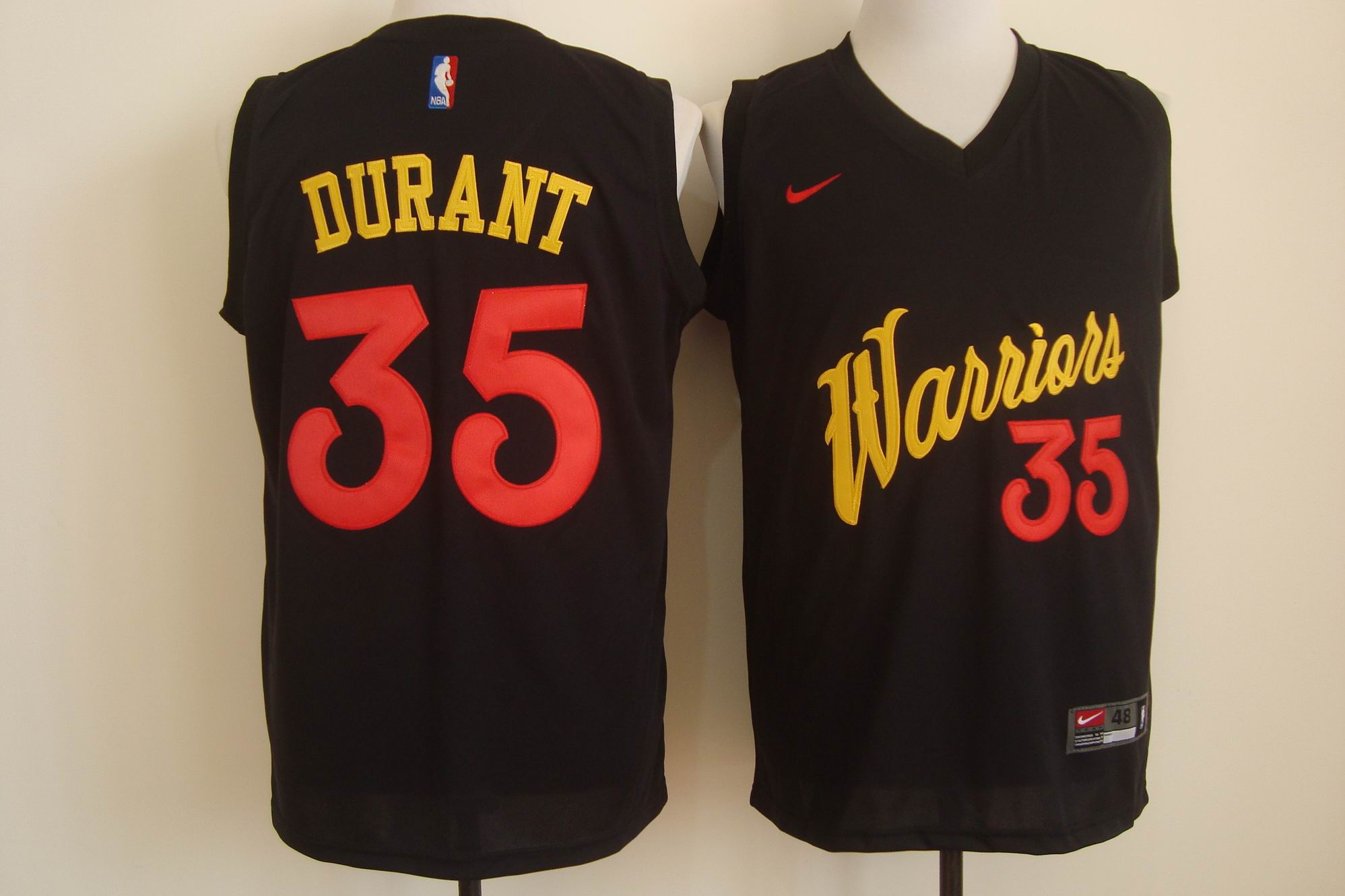 Men's Nike Golden State Warriors #35 Kevin Durant Black and Red Stitched NBA Jersey