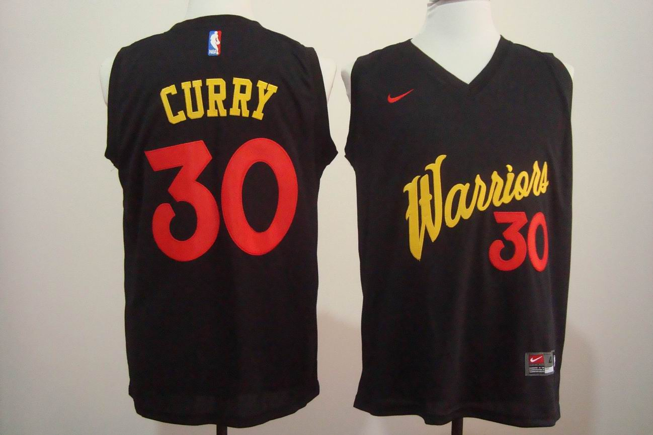 Men's Nike Golden State Warriors #30 Stephen Curry Black and Red Stitched NBA Jersey