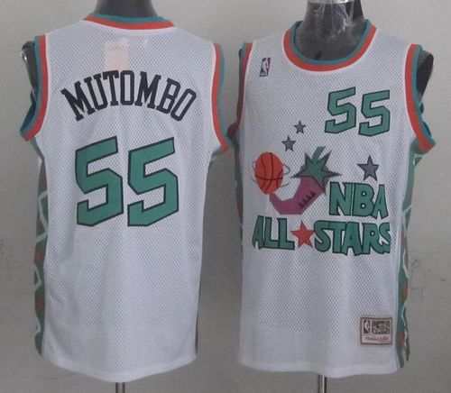 Mitchell And Ness Nuggets #55 Dikembe Mutombo White 1996 All star Stitched NBA Jersey
