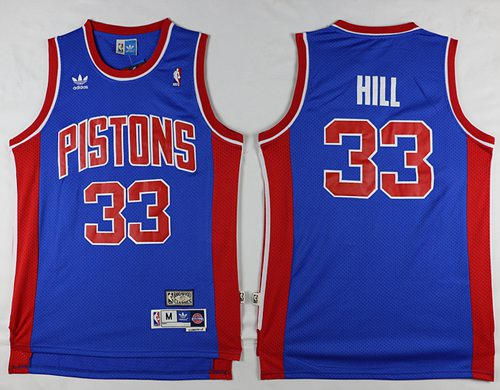 Pistons #33 Grant Hill Blue Throwback Stitched NBA Jersey