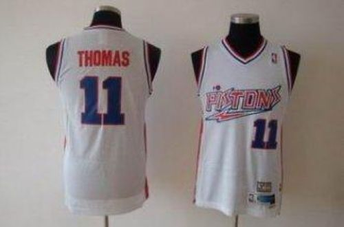 Pistons #11 Isiah Thomas White Swingman Throwback Stitched NBA Jersey
