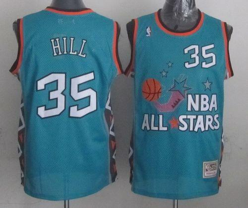 Mitchell And Ness Pistons #35 Grant Hill Light Blue 1996 All star Stitched NBA Jersey