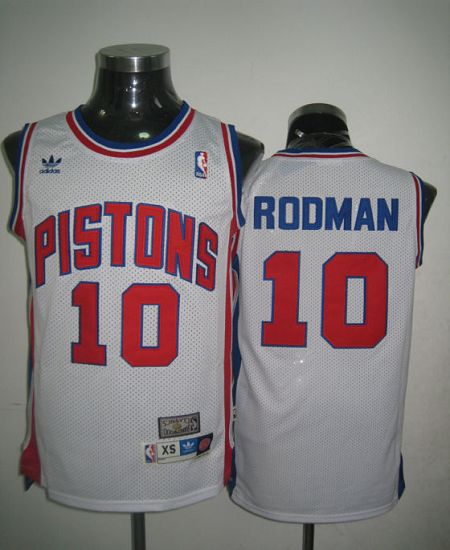 Throwback Pistons #10 Richard Rodman White Stitched NBA Jersey