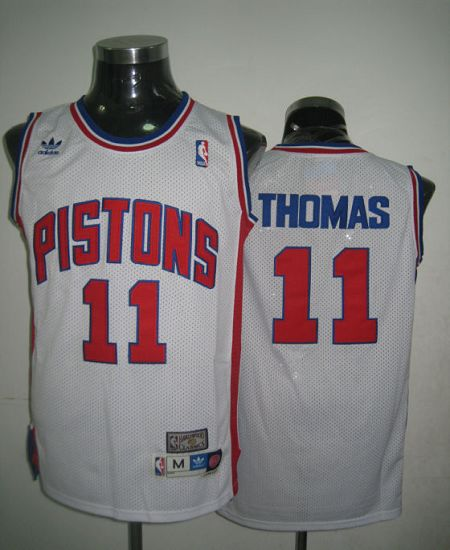 Throwback Pistons #11 Thomas White Stitched NBA Jersey