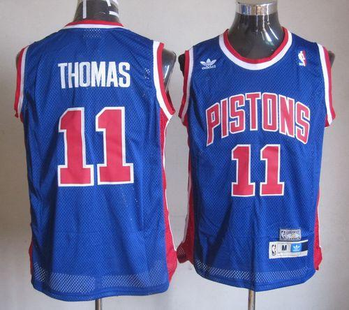 Throwback Pistons #11 Thomas Blue Stitched NBA Jersey