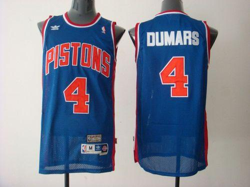 Pistons #4 Joe Dumars Blue Throwback Stitched NBA Jersey