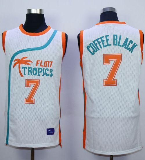 Flint Tropics #7 Coffee Black White Semi-Pro Movie Stitched Basketball Jersey