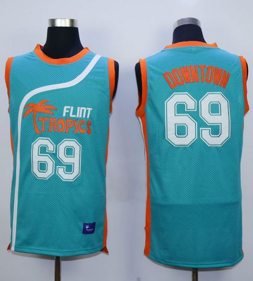 Flint Tropics #69 Downtown Blue Semi-Pro Movie Stitched Basketball Jersey