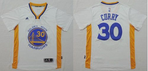 Warriors #30 Stephen Curry White Short Sleeve Stitched NBA Jersey
