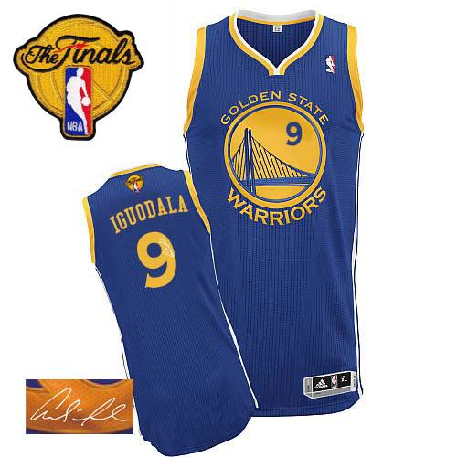 Revolution 30 Autographed Warriors #9 Andre Iguodala Blue The Finals Patch Stitched NBA Jersey