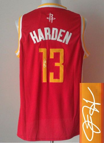 Revolution 30 Autographed Rockets #13 James Harden Red Alternate Stitched NBA Jersey
