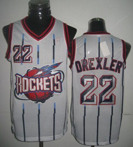 Rockets #22 Clyde Drexler White Throwback Stitched NBA Jersey