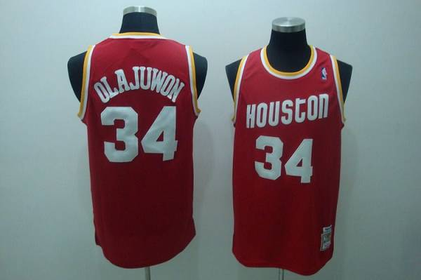 Mitchell and Ness Rockets #34 Hakeem Olajuwon Stitched Red Throwback NBA Jersey