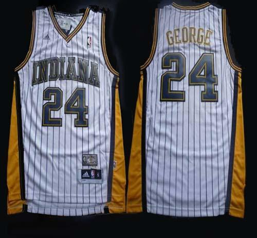 Pacers #24 Paul George White Throwback Stitched NBA Jersey