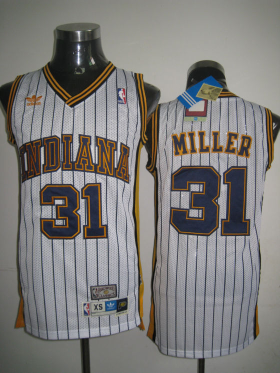 Mitchell and Ness Pacers #31 Reggie Miller White Stitched Throwback NBA Jersey