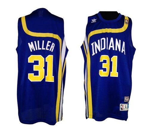 Pacers #31 Reggie Miller Blue ABA Hardwood Classic Stitched NBA Jersey